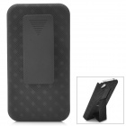 Protective Plastic Stand Back Case w/ Back Clip Holster for Iphone 4 / 4S Black
