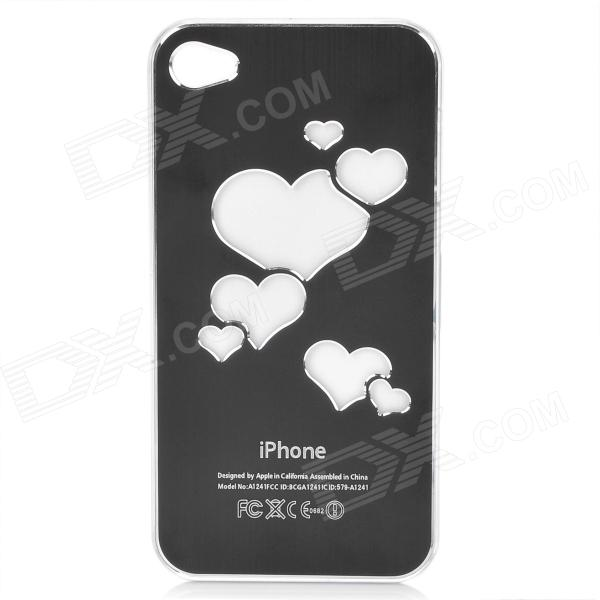LED Colorful Light Protective Aluminum Alloy Back Case for Iphone 4 / 4S - Black (1 x CR2016)