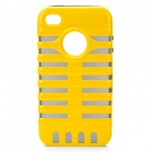 Protective TPU Soft Back Cases w/ PC Skeleton Frame for iPhone 4 / 4S - Yellow