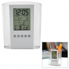 "2.8"" LCD Calendar Pen Holder w/ Time + Date + Week + Temperature Display - Silver (1 x CR2025)"