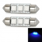 Festoon 38mm 0.54W 45lm 3x5050 SMD LED Blue Light Car Reading / Tail / Door Lamp (2 PCS)