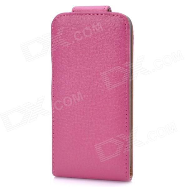 Protective Top Flip PU Leather Cover w/ Plastic Back Case for Iphone 5 - Deep Pink
