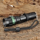 W109 194lm 3-Mode White Light Zooming Flashlight - Black + Green (1 x 18650)