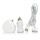 3-in-1 AC Adapter Charger + Car Charger + USB Cable - White (UK Plug)
