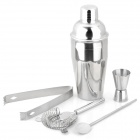 5-in-1 Stainless Steel Cocktail Martini Shaker Mixer - Silver (550ml)