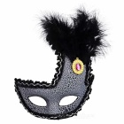 Crown Style Feather Plastic Eye Mask - Black