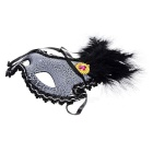 Crown Style Feather Muovi Eye Mask - Musta