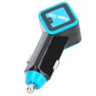 Car Cigarette Powered Adapter Charger w/ Dual USB Output - Blue + Black