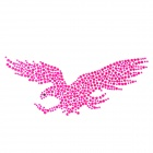 Eagle Pattern Rhinestone Car Decoration Sticker - Fuchsia