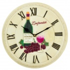 HOMEXW Grape Wine Pattern Roman Numerals Clock - Beige (1 x AA)
