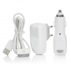 3-in-1 AC Adapter Charger + Car Charger + USB Cable - White (EU Plug)