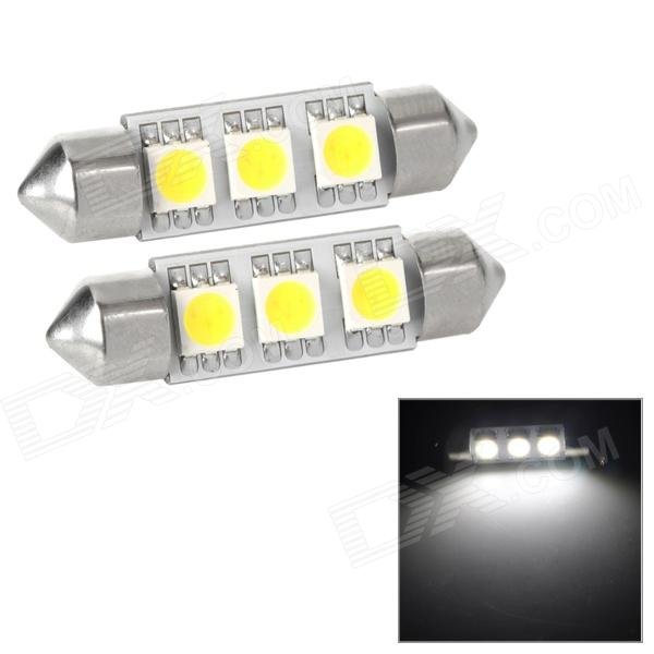 Festoon 38mm 0.54W 69lm 3-SMD 5050 LED White Light Car Reading / Tail / Door Lamp (2 PCS / 12V) lx 3w 250lm 6500k white light 5050 smd led car reading lamp w lens electrodeless input 12 13 6v