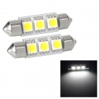 Festoon 38mm 0.54W 69lm 3-SMD 5050 LED White Light Car Reading / Tail / Door Lamp (2 PCS / 12V)