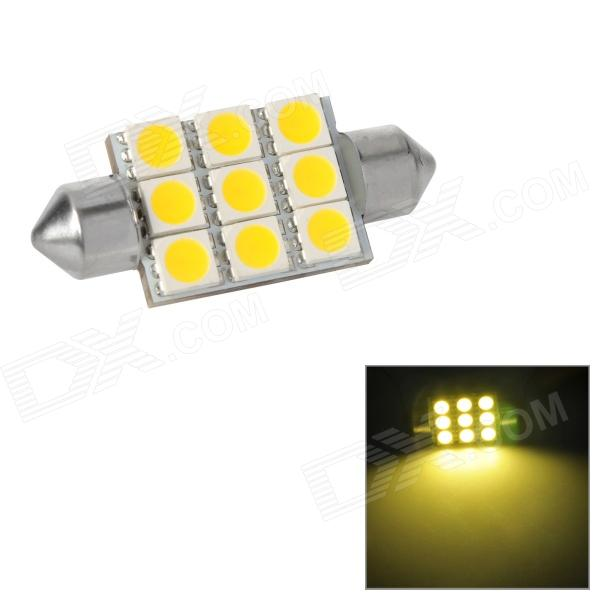 Festoon 38mm 1.62W 187lm 9-SMD 5050 LED Warm White Light Car Reading / Tail / Door Lamp (12~17V) lx 3w 250lm 6500k white light 5050 smd led car reading lamp w lens electrodeless input 12 13 6v