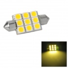 Festoon 38mm 1.62W 187lm 9-SMD 5050 LED Warm White Light Car Reading / Tail / Door Lamp (12~17V)
