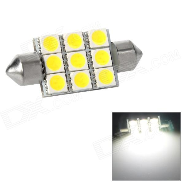 Festoon 38mm 1.62W 207lm 9-SMD 5050 LED White Light Car Reading / Tail / Door Lamp (12~17V) lx 3w 250lm 6500k white light 5050 smd led car reading lamp w lens electrodeless input 12 13 6v
