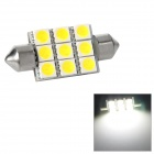 Festoon 38mm 1.62W 207lm 9-SMD 5050 LED White Light Car Reading / Tail / Door Lamp (12~17V)
