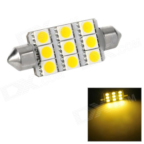 Festoon 44mm 1.62W 197lm 9-SMD 5050 LED Warm White Light Car Reading / Tail / Door Lamp (12V) lx 3w 250lm 6500k white light 5050 smd led car reading lamp w lens electrodeless input 12 13 6v