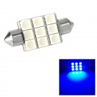 Festoon 38mm 1.62W 145lm 9-SMD 5050 LED Blue Light Car Reading / Tail / Door Lamp (12~17V)