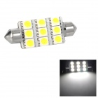 Festoon 44mm 1.62W 207lm 9-SMD 5050 LED White Light Car Reading / Tail / Door Lamp (12V)