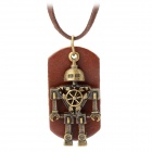 Genuine Cow Leather Unisex Vintage Robot Necklace - Brown + (80cm-Chain)