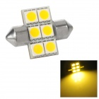 Festoon 30mm 1.08W 118lm 6-SMD 5050 LED Warm White Light Car Reading Lamp (12~17V)