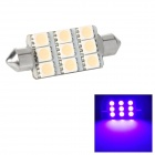 Festoon 44mm 1.62W 127lm 9-SMD 5050 LED Pink Purple Light Car Reading / Tail / Door Lamp (12V)