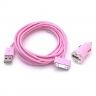 Car Charger + USB Male to 30-Pin Male Cable for iPhone 4 / 4S - Pink (12~24V / 3m-Cable)