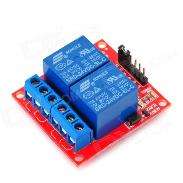 цена на 2 Channel 24V Relay Module for Arduino (Works with Official Arduino Boards)