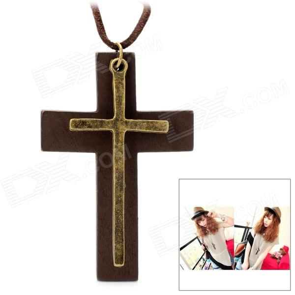 Genuine Cow Leather Unisex Vintage Wood + Metal Cross Pendant Leather Necklace - Brown (94cm-Chain) lapoe men crazy horse genuine leather backpack vintage casual male rucksack brown cowhide leather daypack for man hand bags