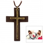 Genuine Cow Leather Unisex Vintage Wood + Metal Cross Pendant Leather Necklace - Brown (94cm-Chain)