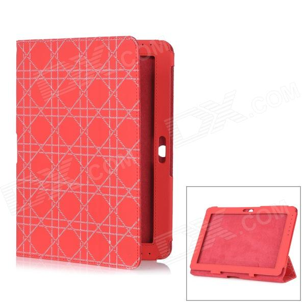 Checked Pattern Protective PU Leather Case for Samsung Galaxy Tab 2 10.1 P5100 - Red g cover pu leather hand bag for ipad 2 3 4 samsung galaxy tab p5100 10 table pc blue