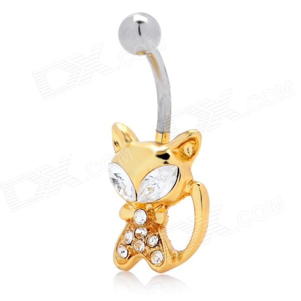 18KGP Alloy + Rhinestone + Zircon Cat Shaped Belly Button Navel Rings - Golden + Silver от DX.com INT