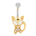 18KGP Alloy + Rhinestone + Zircon Cat Shaped Belly Button Navel Rings - Golden + Silver