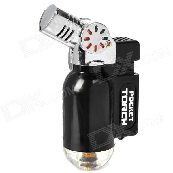 Stylish Windproof Butane Jet Torch Lighter - Black + Silver