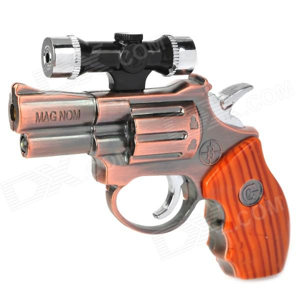 Gun Pistol Style Windproof Butane Torch Lighter w/ Red Laser & White LED Light - Copper (4 x AG3)