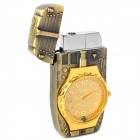 2-in-1 Tank Style Windproof Butane Lighter + Quartz Watch w/ Colorful Lights - Bronze (1 x 377)