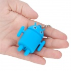 Cute Android Robot Style Keychain w/ 2-Blue LEDs / Sound Effect - Green + Blue (3 x AG10 / 2 PCS)