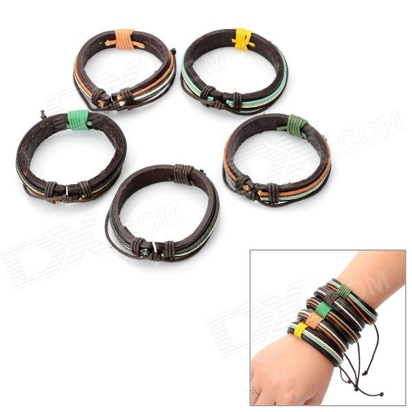 Genuine Leather Unisex Wristband Bracelet w/ 4pcs Hemp Cords - Brown (5 PCS) improving quality of life in anxiety and depression