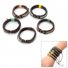 Genuine Leather Unisex Wristband Bracelet w/ 4pcs Hemp Cords - Brown (5 PCS)