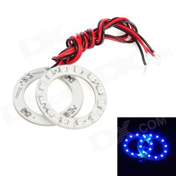 Waterproof 1.8W 96lm 12-SMD 1210 LED Blue Car Angel Eye Lights (DC 12V / 40mm / 2 PCS) 40mm stainless steel metal latching waterproof doorbell bell horn led push button switch car auto engine start pc power symbol
