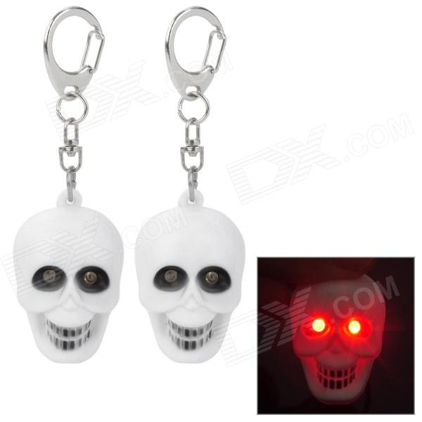 Cool Skull Style Keychain w/ 2-Red LEDs / Sound Effect - White (3 x AG10 / 2 PCS) skull head style spring car decoration red white