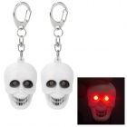 Cool Skull Style Keychain w/ 2-Red LEDs / Sound Effect - White (3 x AG10 / 2 PCS)