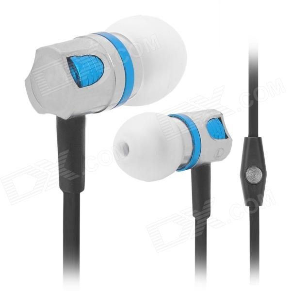Wallytech Stylish In-Ear Earphone w/ Mic for Iphone / Ipod / Ipad - Black + Blue (3.5mm Plug)
