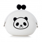 Panda Pattern Small Cute Silicone Coin Change Purse Pocket Bag - White