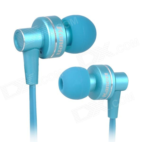 Kanen IP808 In-Ear Bass Stereo Earphone w/ Microphone - Blue (3.5mm Plug / 120cm) trendwoo® twins bluetooth wireless speaker support 2 0 left and right stereo sound surround with built in microphone hands free music player