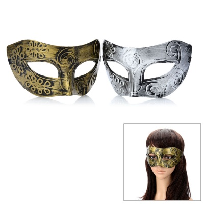 Masquerade Party Harm Fancy Dress Masks - Golden + Silver (Pair)