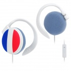 France Flag Pattern Ear-Hook Earphone with Microphone (3.5mm Plug)