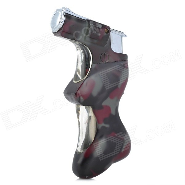 Cool Windproof Butane Jet Lighter w/ Blue LED Light Effect - Camouflage (3 x AG3)