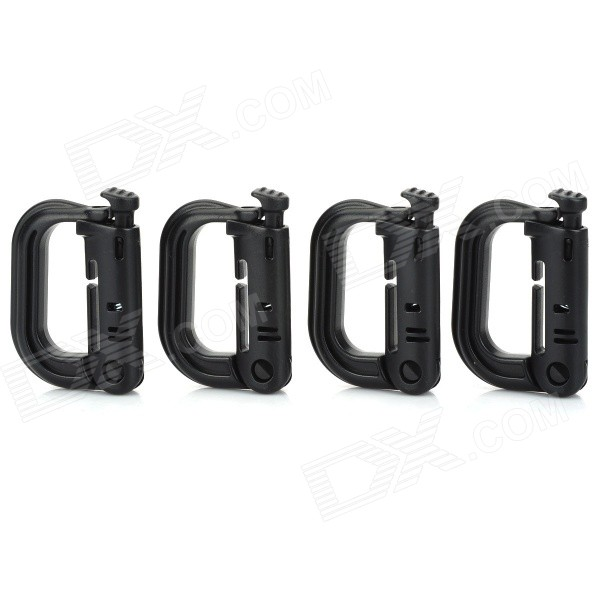 D-Ring Locking Carabiner - Black (4 PCS)Shovels ?Camp Tool<br>- Color: Black- Attatches securely to any 1 molle webbing for adding lanyards or other accessories- Lightweight UV resistant plastic is immune to solar heating- Solid performance over a wide range of environmental conditions- Designed with a detent to maintain an open position in the latch- Textured grip allows easy use with gloved hands- Contains 4 pieces in a pack<br>